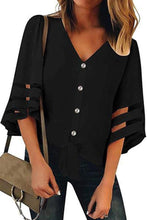 Load image into Gallery viewer, V Neck Half Sleeve Button Chic Blouses