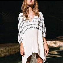 Load image into Gallery viewer, V-Neck  Asymmetric Hem  Contrast Stitching  Bohemian Shift Dresses