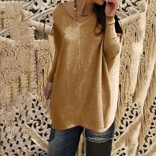 V Neck  Asymmetric Hem  Curved Hem  Plain Sweaters