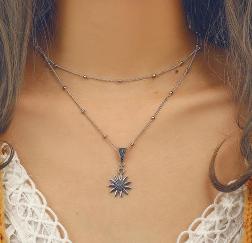 Bohemian Sunflower Flower Alloy Long Round Beaded Silver Necklace