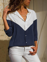 Load image into Gallery viewer, Casual V-Neck Stitching Long Sleeve Blouses