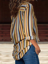 Load image into Gallery viewer, Long Sleeve Striped Printed Chiffon Blouses