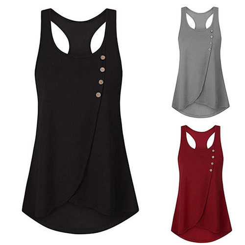 Round Neck  Racerback  Plain Sleeveless T-Shirts