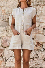 Load image into Gallery viewer, Round Neck Short Sleeve Plain Patch Pocket Playsuits Jumpsuits