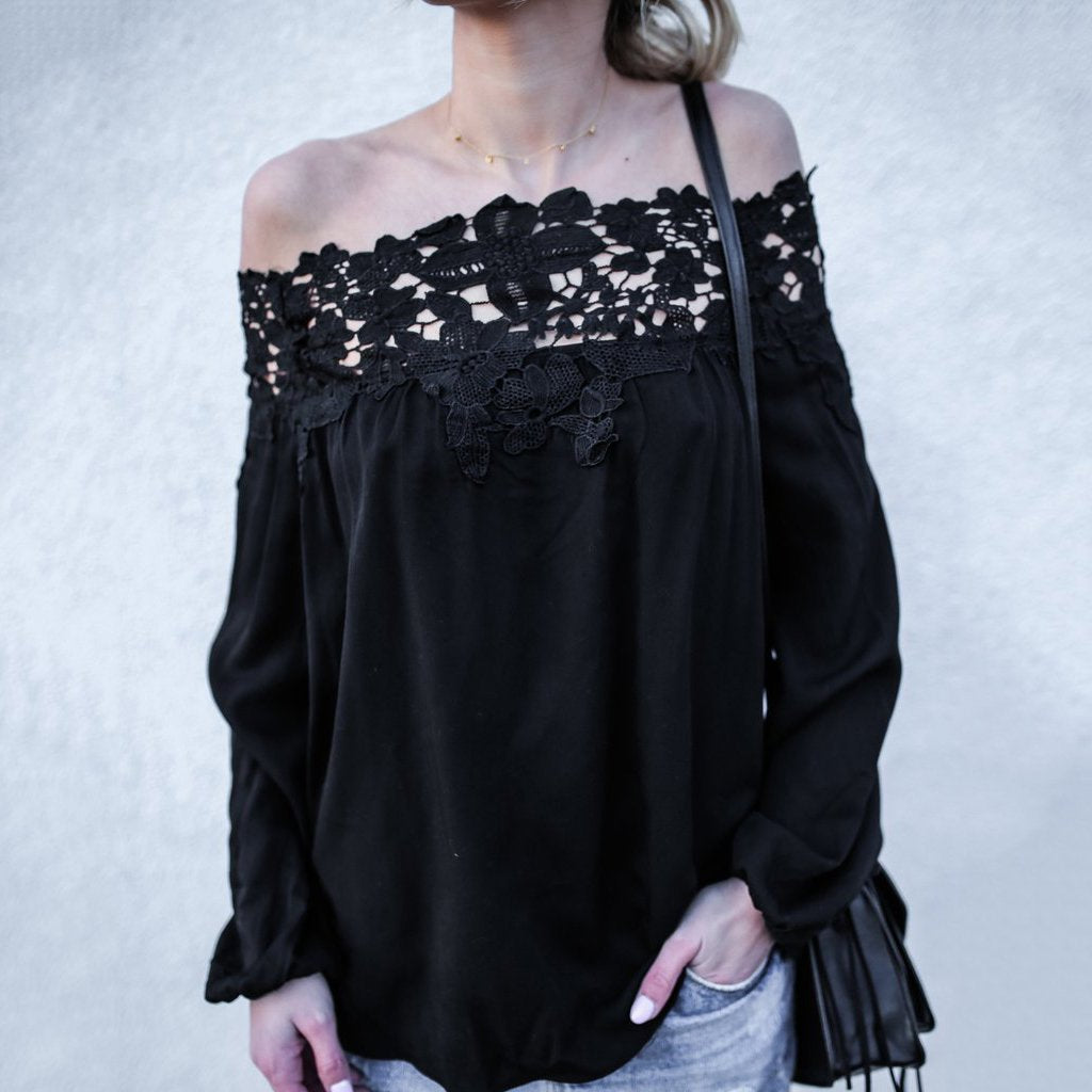 Sexy Off-Shoulder Stitching Long-Sleeved T-Shirt