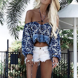 Floral Printed Straps 3/4 Sleeved Blouse