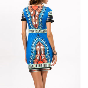 Folk-Custom Round Collar Printing Slim Work Dress