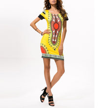 Load image into Gallery viewer, Folk-Custom Round Collar Printing Slim Work Dress