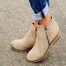 Load image into Gallery viewer, Plain  Flat  Velvet  Round Toe  Outdoor Ankle Boots