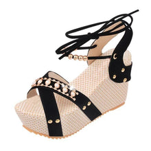 Load image into Gallery viewer, Plain  High Heeled  Velvet  Ankle Strap  Peep Toe  Date Wedge Sandals