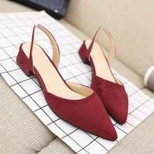 Load image into Gallery viewer, Plain  Chunky  Low Heeled  Velvet  Point Toe  Date Sandals