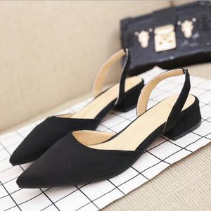 Plain  Chunky  Low Heeled  Velvet  Point Toe  Date Sandals