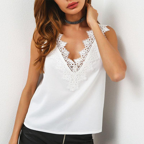 V Neck Lace Patchwork Sleeveless Camis