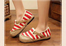 Load image into Gallery viewer, Round Head Shoes Striped Ethnic Style Student Flat Shoes