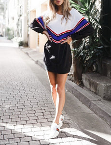Striped Pullover Loose Long Sleeve Casual Dresses