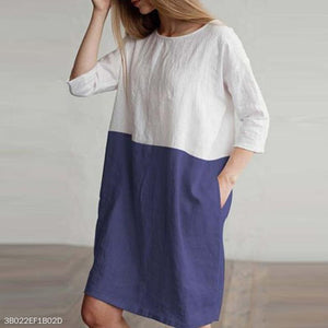 Round Neck Half Sleeve Color Block Patchwork Pocket Casual Dress