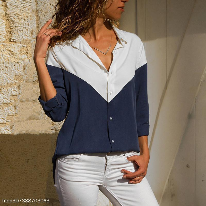 Casual V-Neck Stitching Long Sleeve Blouses