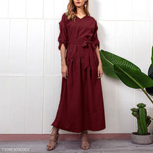 Load image into Gallery viewer, V Neck Long Sleeve Belt Plain Maxi Dress