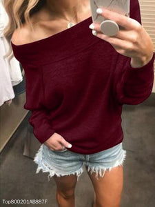Fashion Off-Shoulder Long Sleeve Pull Over T-Shirt