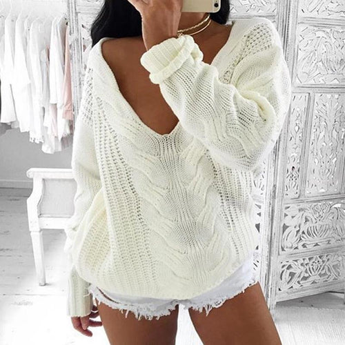 V-Neck Twist Sweater
