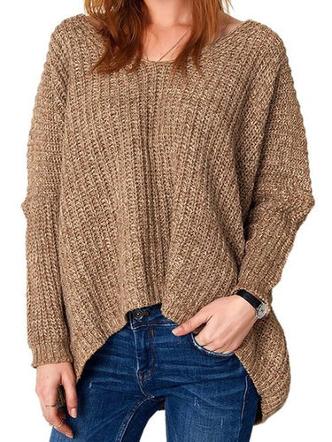 Round Neck  Asymmetric Hem  Plain  Long Sleeve Sweaters