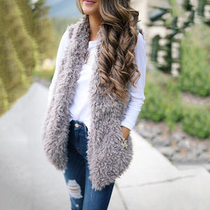 Solid Color Fashion Cashmere Long Vest Jacket