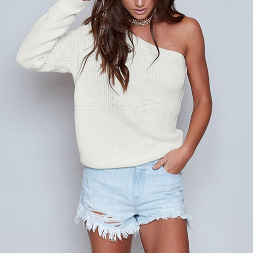 Sexy One-Shoulder Long-Sleeved Sweater