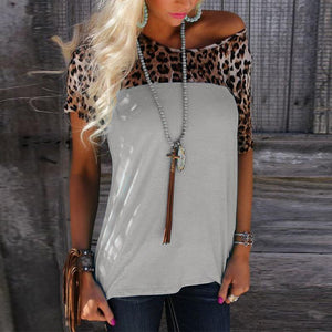 Round Neck Short Sleeve Leopard Printed Patchwork T-Shirts