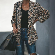 Load image into Gallery viewer, Leopard Printed Lapel Long Sleeve Fashion Blazers