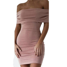 Load image into Gallery viewer, Sexy Off Shoulder Plain Bodycon Dresses