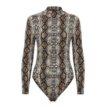 Load image into Gallery viewer, Turtle Neck Long Sleeve Snake Printed Bodysuits