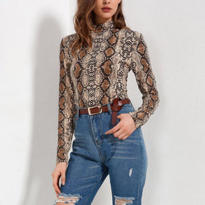 Turtle Neck Long Sleeve Snake Printed Bodysuits