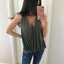 Load image into Gallery viewer, V Neck Hollow Out Sleeveless Plain Casual Camis