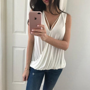 V Neck Hollow Out Sleeveless Plain Casual Camis