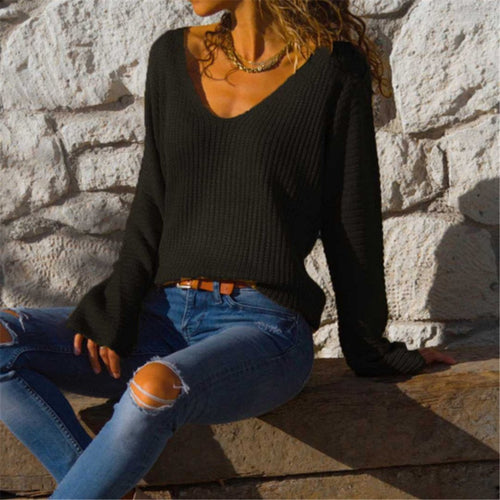 Sexy V Neck With Loose Long Sleeves Sweater