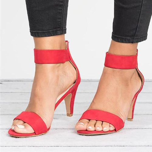 Plain Velvet Ankle Peep Toe Office Sandals