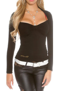 Asymmetric Neck  Lace Plain T-Shirts