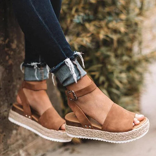 Plain  Velvet  Peep Toe  Casual Platform Sandals