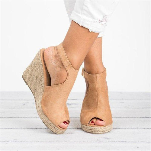 Fashion Wedge Heel Sandals Adjustable Buckle Peep Toe Sandals