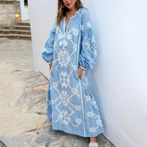 Bohemian Bishop Sleeve Printed Colour Maxi Dresses