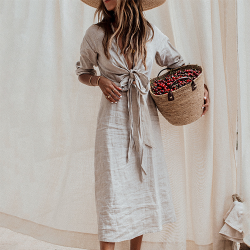 Casual Pure Colour Linen V Neck Belted Dresses