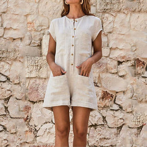 Round Neck Short Sleeve Plain Patch Pocket Playsuits Jumpsuits