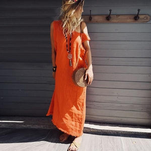 Summer Cotton/Linen Solid Color Casual Dress