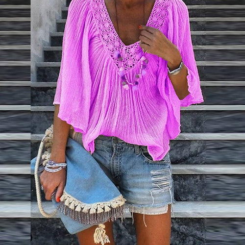 V Neck Lace Patchwork Flare Sleeve Casual Blouses