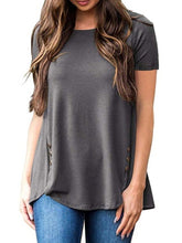 Load image into Gallery viewer, Round Neck  Decorative Buttons  Plain Short Sleeve T-Shirts