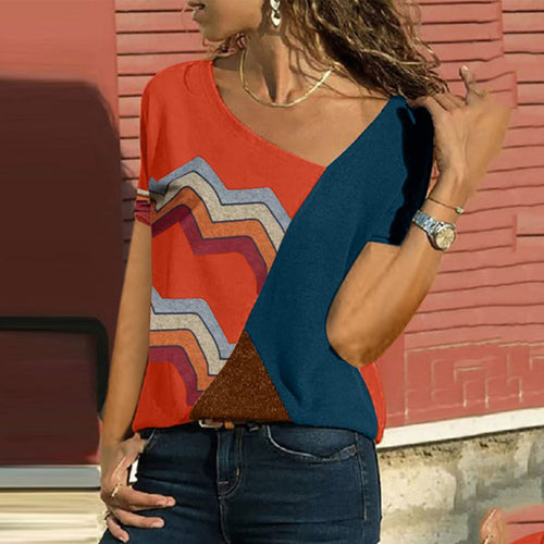 Boat Neck  Color Block Patchwork T-Shirts