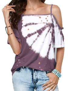 Asymmetrical Neck Dyed Printed Short Sleeve T-Shirts