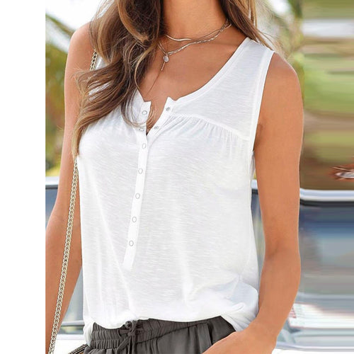 Round Neck Sleeveless Plain Camis