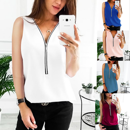 Fashion Pure Colour V Neck Zipper Sleeveless Chiffon Shirt