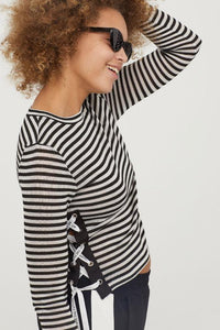 Round Neck  Lace Up  Striped T-Shirts